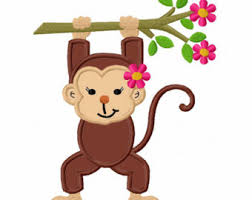 Monkey Sconces Monkey With Branch Applique Machine Embroidery Design No 0023