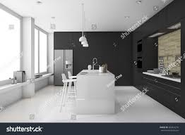 3d rendering minimal black white modern stock illustration
