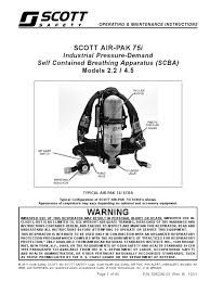 manual scott air pak 75i personal protective equipment safety