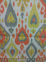 modern upholstery per yard orange yellow color ikat fabric for