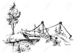 landscape with suspended bridge over river sketch royalty free