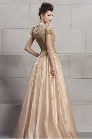 couture champagne gold organza prom dress ca535