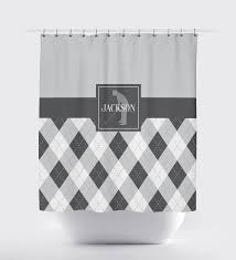 Light Grey Shower Curtain Custom Golf Argyle Shower Curtain For Boys And Teens U2013 Shop