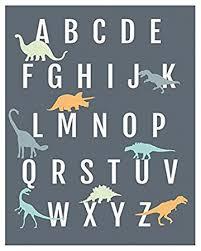 Dinosaur Nursery Decor Dinosaur Alphabet Wall Print 11x14 Nursery Decor
