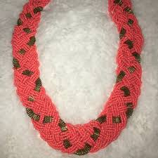 coral bead necklace images Jewelry coral beaded statement necklace poshmark jpg