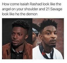 Side By Side Meme - isaiah rashad reacts to a meme suggesting he looks like 21 savage