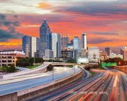 Home Decor Atlanta Atlanta Cityscape Etsy