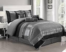 7 oversize grey black silver stripe chenille