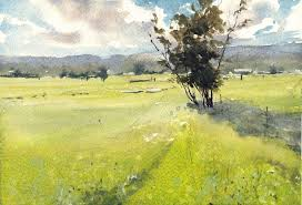 morning field watercolor painting tutorialswatercolor painting