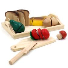 cutting toys fruit knife wooden pieces cutting board play