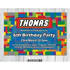 lego themed personalised birthday party invitations