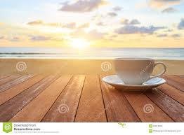 Sunrise Sunset Table White Coffee Cup On Wood Table And View Of Sunset Or Sunrise Bac