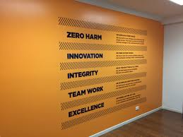 corporate values office wall word cluster vinyl foil re pinned