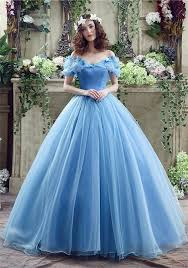 fairy ball gown off the shoulder blue organza wedding prom dress