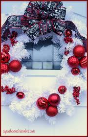 red and white christmas wreath home for the holidays home