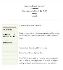 Resume Outlines Examples by Carpenter Resume Template U2013 9 Free Samples Examples Format