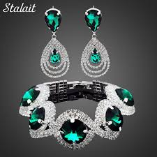 bracelet earrings set images Fashion wedding bridal jewelry sets for women rhinestone austrian jpg