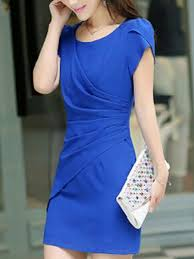 blue above knee sheath plus size dress for casual party evening