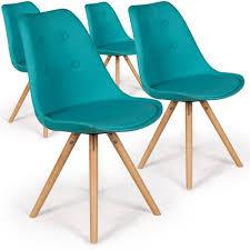 chaise turquoise de 4 chaises scandinaves goya tissu bleu