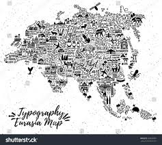 Eurasia Map Typography Poster Eurasia Mapeurasia Travel Guide Stock Vector