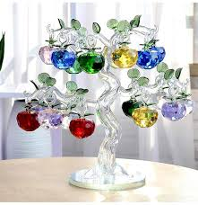 glass apple tree with 18pcs apples fengshui crafts home