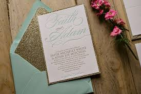 mint wedding invitations mint and gold wedding invitation gold glitter letterpress