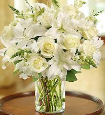 white floral arrangements classic all white arrangement for sympathy large by 1