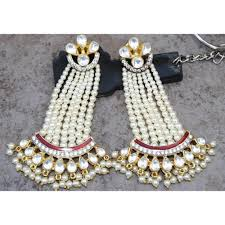 dangler earrings pearl kundan enamel dangler earrings