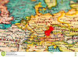 Germany Map Europe by Munich Germany Pinned On Vintage Map Of Europe Stock Photo