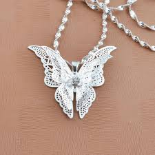 butterfly long chain necklace images Pinksee chic beautiful 3 layer 3d crystal silver color hollow jpg