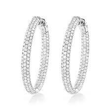 inside out diamond hoop earrings 14k gold inside out diamond hoop earrings 5ct 1 5in