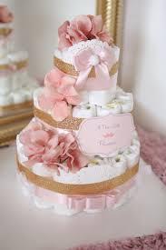 diper cake baby girl princess tiara cake gold pink baby shower