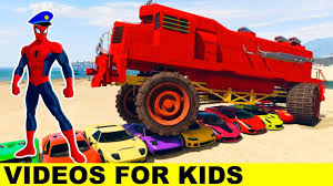 funny monster truck videos with spiderman cars cartoon and fun long monster truck videos for