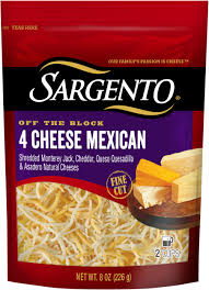 Light Mozzarella String Cheese by Shredded 4 Cheese Mexican Fine Cut Sargento
