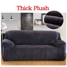 couvre canapé élastique housse solide couleur épais en peluche stretch coupe