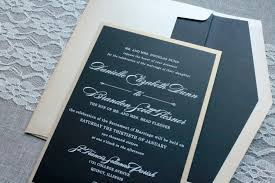 custom invitation black and gold wedding invitation black pocket invitation formal