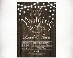 wedding reception invitations wood invitation etsy