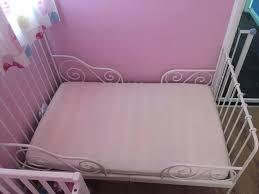 Metal Frame Toddler Bed White White Metal Toddler Bed White Metal Children Bed Extendable Sprung
