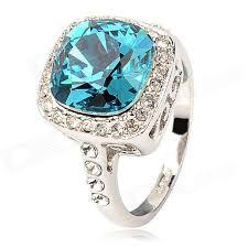 blue crystal rings images Kcchstar elegant 18k blue square crystal rings silver blue jpg