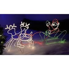 reindeer santa decoration sleigh led rope lights