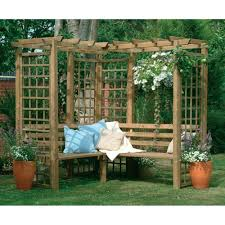 Swing Pergola by Classic Corner Bench Wooden Lattice Garden Arbour Pergola Seating