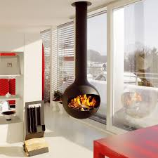 amazing fireplace design come with black round hanging fireplace amazing fireplace design come with black round hanging fireplace and white shelves and red stained wooden table together with white sliding door
