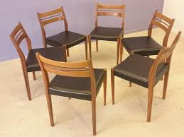 scandinavian teak leatherette chairs 1960s set of 6 for sale