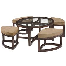 round coffee table with 4 stools juniper mink brown wood round cocktail table and 4 piece stools set