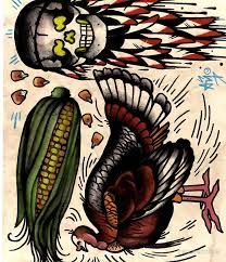 turkey and skull with corn flash print thanksgiving mini