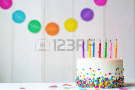 birthday cake with blown out candles stock photo picture and