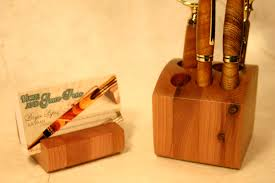 desk organizer set in cedar wood handcrafted wood 2 piece