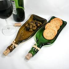 wine bottle serving dish gold wine bottle serving tray spoon rest cork recycled glass