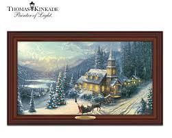 thomas kinkade lighted pictures thomas kinkade illuminated sunday evening sleigh ride canvas print