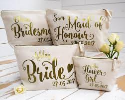 personalised bridal party gift make up bag bridesmaid of